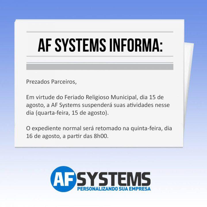 AF Systems informa – Feriado Municipal