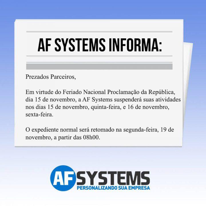 Informativo AF Systems, Feriado Nacional Proclamação da República