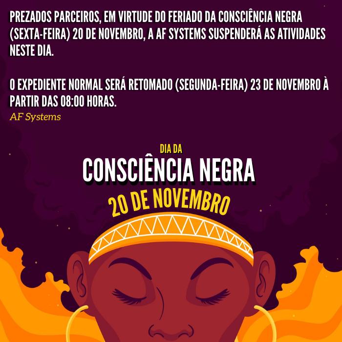 Sexta-feira 20 de Novembro – Dia Nacional da Consciência Negra